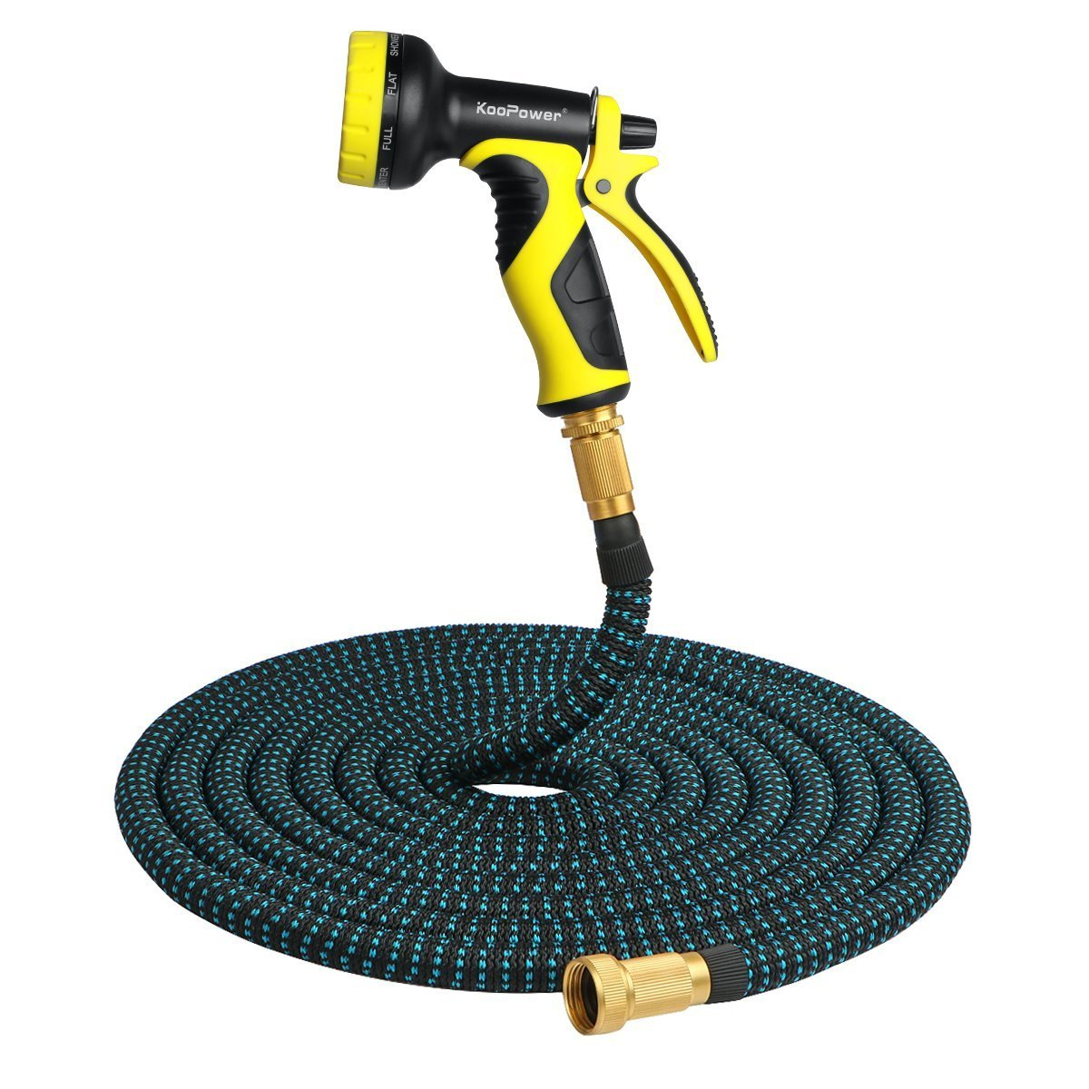 Garden Hose Pipe, 50 ft Expandable Flexible Watering Hose with Multi Spray Water Gun (No Kink, Solid Brass Connectors)