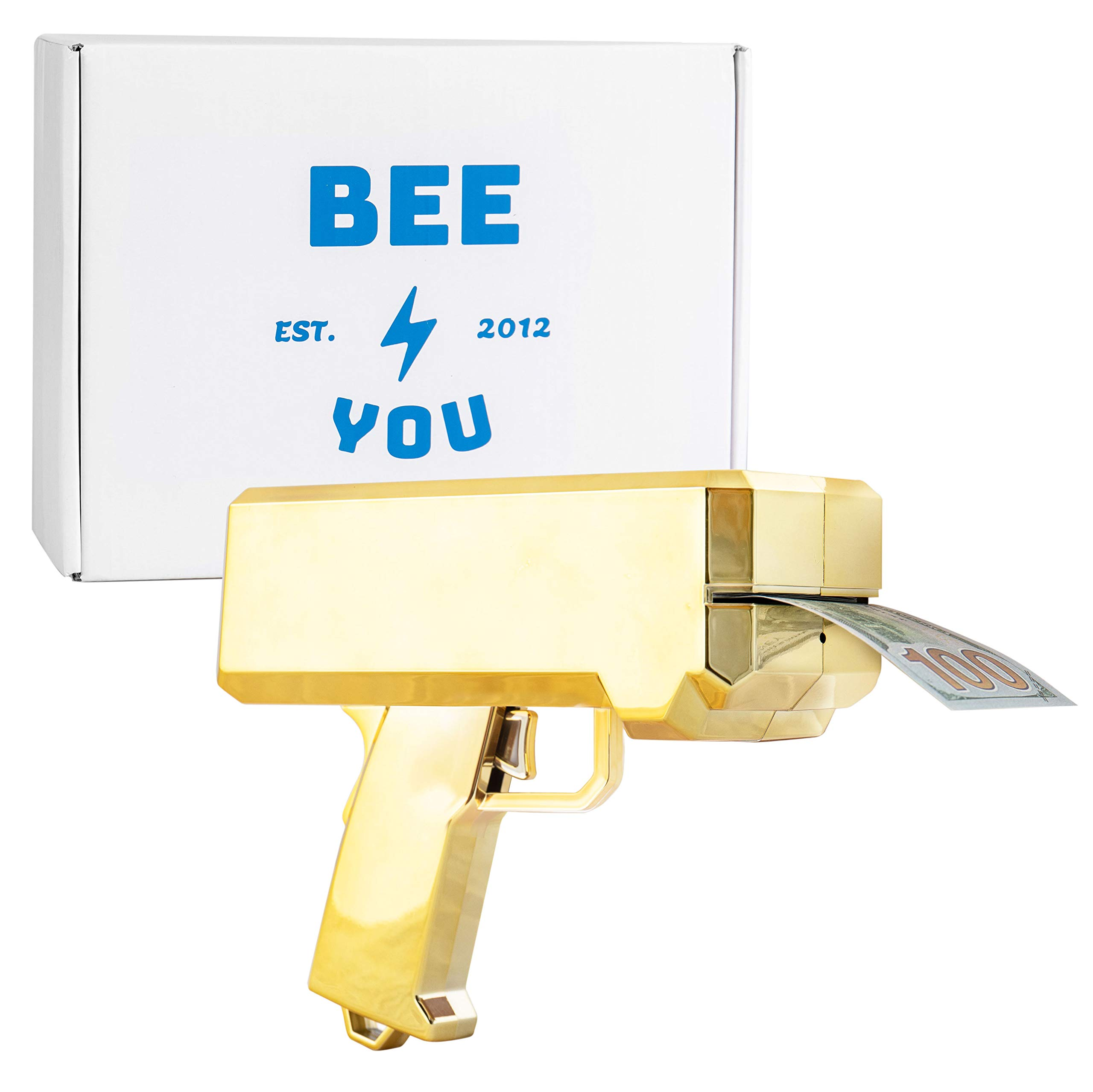 Bee You -(Premium Chrome Gold Money Gun Paper Playing Spray Money Gun Make it Rain Toy Gun, Handheld Cash Gun Fake Bill Dispenser Money Shooter with 100 Pcs Play Money by Bee You