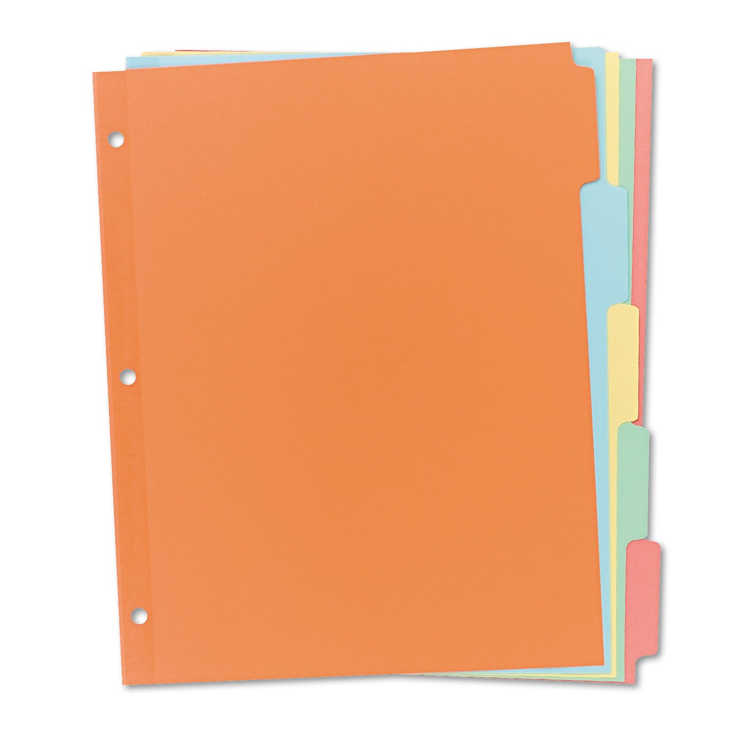 Avery 11508 Write & Erase Plain-Tab Paper Dividers, 5-Tab, Letter, Multicolor (Box of 36 Sets)