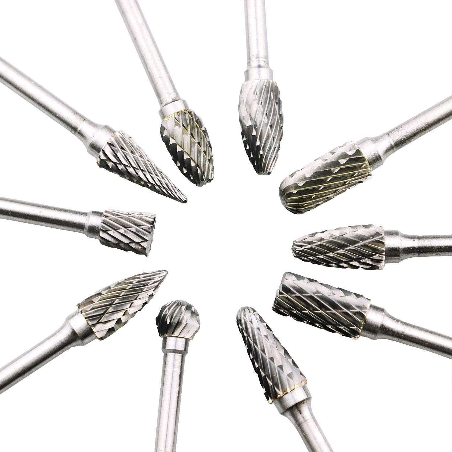 10pcs 6mm Tungsten Head Carbide Burrs Rotary Drill Die Grinder Carving Bit Kit
