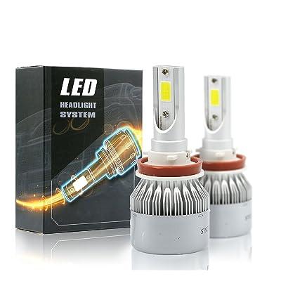 Syneticusa LED High/Low Beam Headlight Conversion Kit Light Bulbs 100W 10000LM 6000K White (H11): Automotive