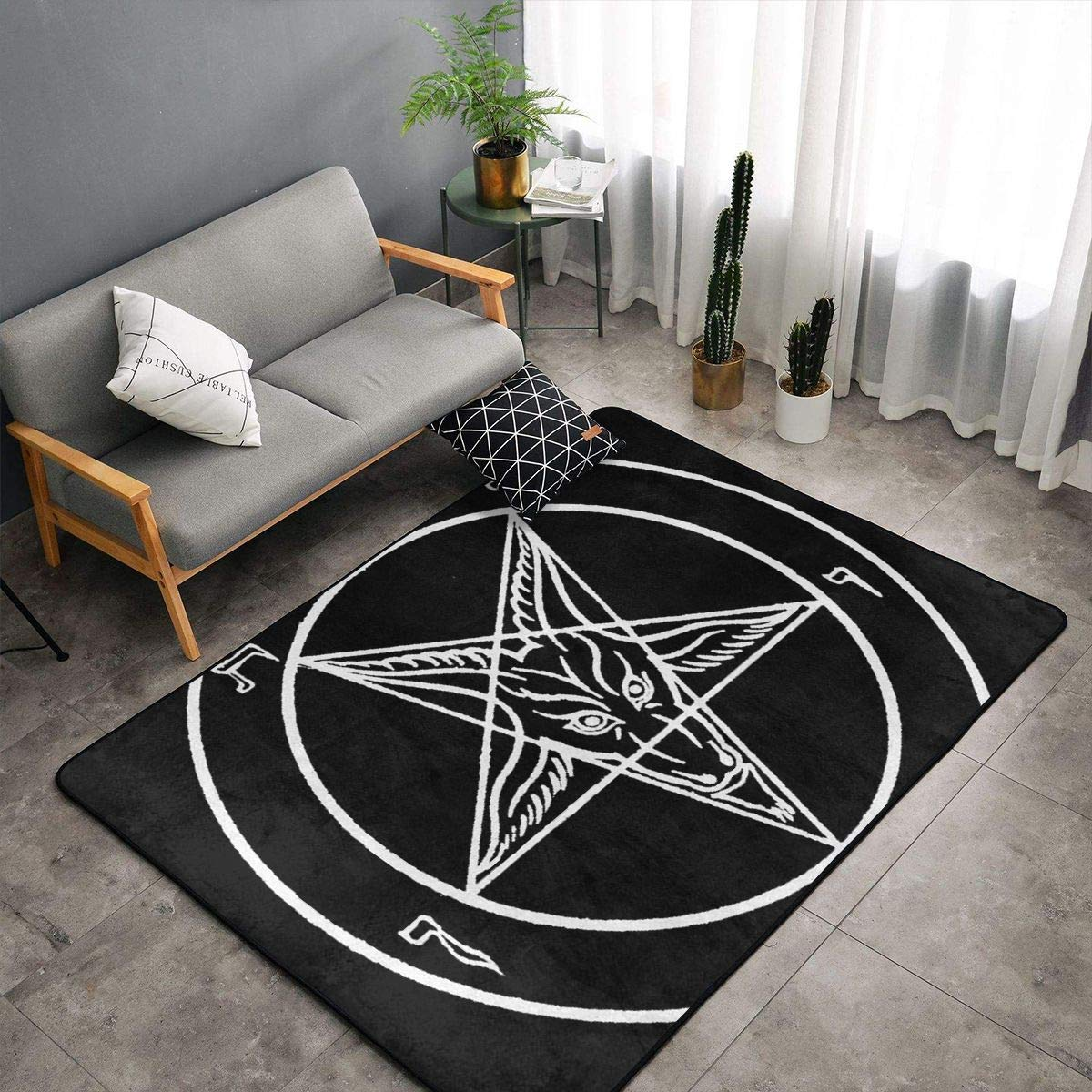 Memory Foam Kitchen Rugs for Hotel Kid Rooms Dorm Room, Non Skid Backing Floor Pad Rugs Comfort Throw Rugs Runner, Anti Fatigue, Aazazel Storm Goat Pentagram Satanic Logo Black, 60 x 39 Inch