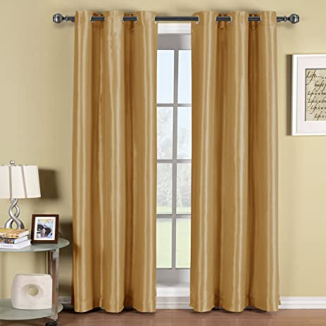 soho gold grommet blackout window curtain panel solid pattern 42x84 inches by royal