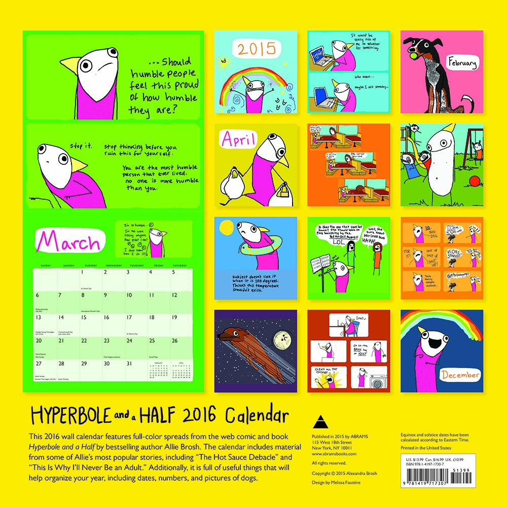 Hyperbole and a Half 2016 Wall Calendar: Allie Brosh: 9781419717307: Books  - Amazon.ca