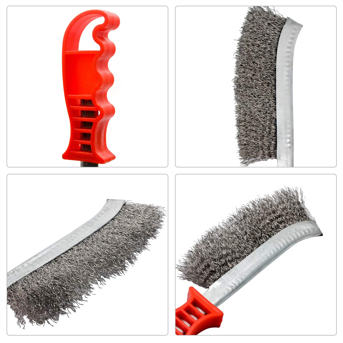 Curved Stainless Steel Wire Scratch Brush-MASO Cleaning Hand Brush 24cm Long Red,Easy to grip apply to Industrial,Rust Corrosion And Paint Removal.