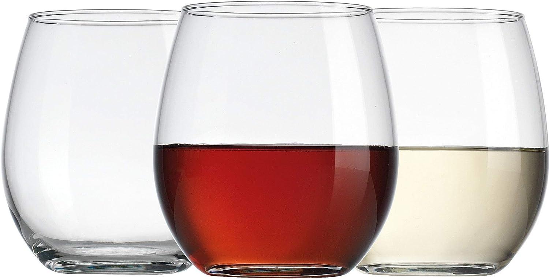 Amazon Com Home Essentials Allure 15 Oz Stemless Wine Set Of 6 Wine Glasses
