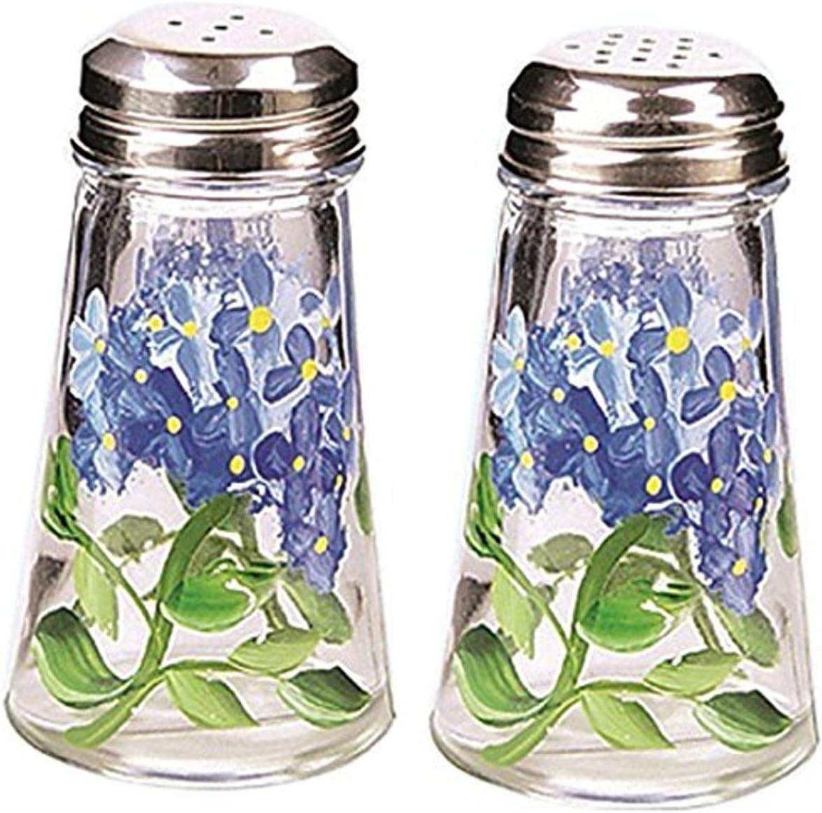 Grant Howard Hand Painted Tapered Salt and Pepper Shaker Set, Blue Hydrangeas, Blue