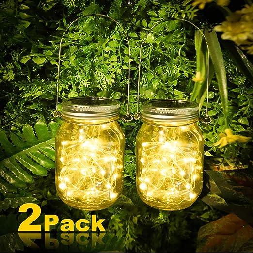 2 lámparas solares Vivibel para jardín, 30 ledes, luz solar para tarros de cristal, cadena de luces en cristal, cristal solar blanco cálido, para exterior, fiestas, pared, mesa, boda: Amazon.es: Iluminación