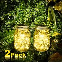 2 lámparas solares Vivibel para jardín, 30 ledes, luz solar para tarros de cristal, cadena de luces en cristal, cristal solar blanco cálido, para exterior, fiestas, pared, mesa, boda