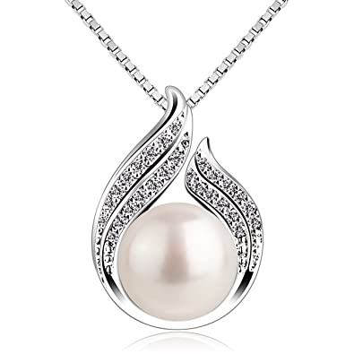 "e2203caa85e B.Catcher Pearl Necklace Freshwater Bud 925 Sterling Silver ""Hug with  Pearl"" Pendant Necklaces 18"" for Women Pearl Jewellery"