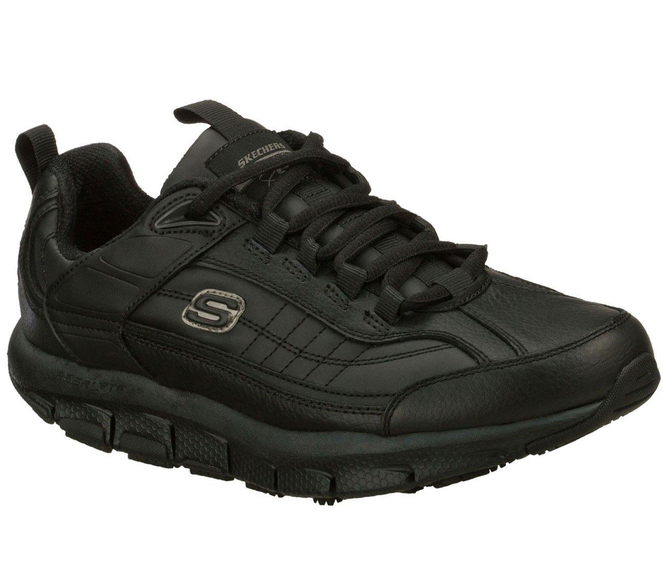 Skechers Men's Liv SR - Brawny Black Leather 9.5 EW by Skechers