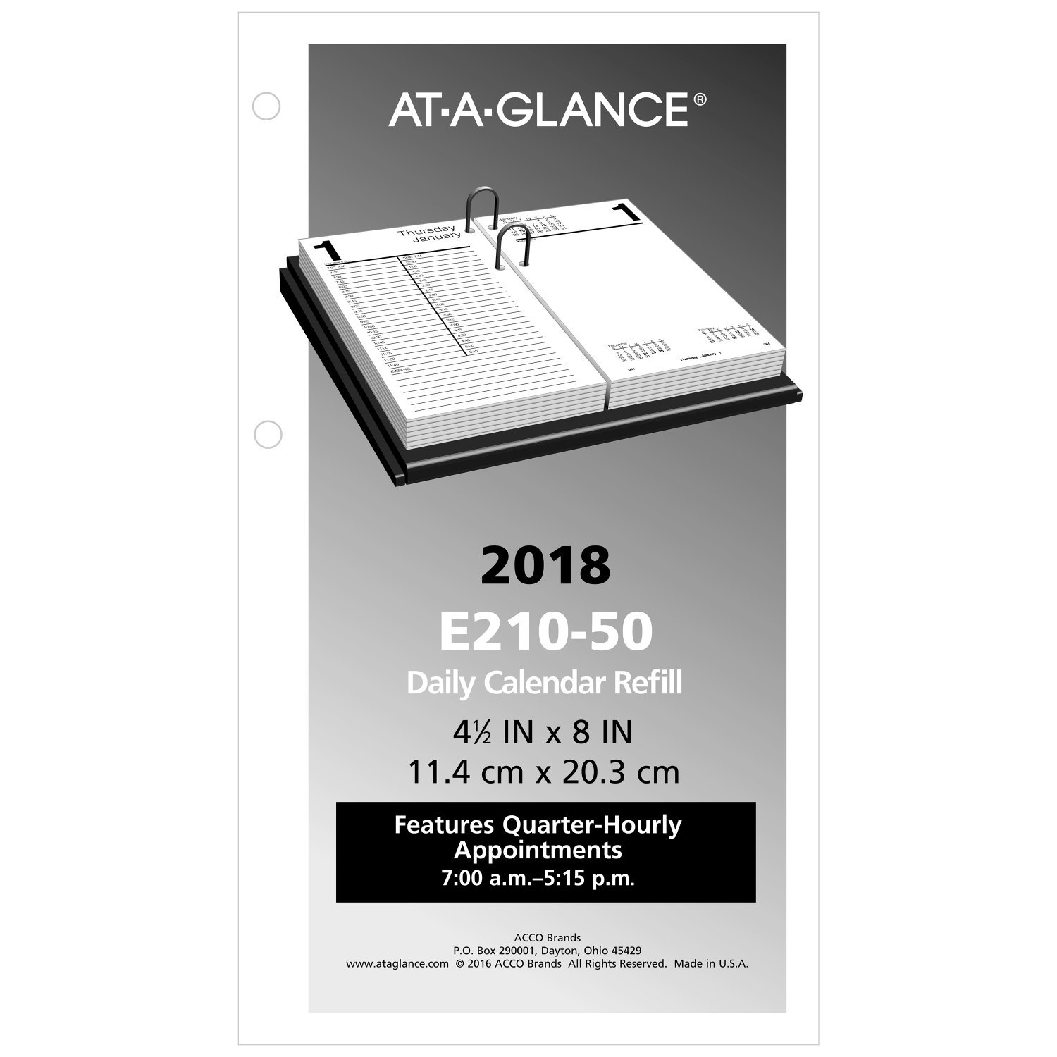 at-A-Glance Daily Desk Calendar Refill, January 2018 - December 2018, 4-1/2'' x 8'', Loose Leaf (E21050)