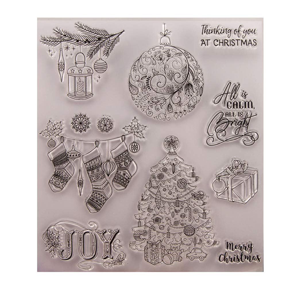 ShapeW Merry Christmas Theme Clear Stamps for Making Card Decoration and Scrapbooking Album Paper