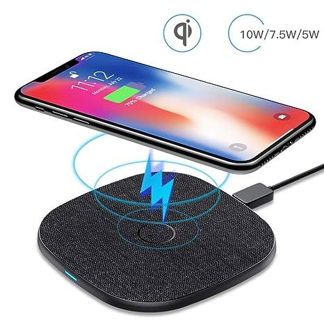 Cargador Inalámbrico Rápido, AGPTEK Qi Inalámbrica Carga Rápida 10W/7.5W/5W para iPhone 8/X/XS/XR,Samsung,Xiaomi,Huawei,Airpods etc, Wireless Quick ...
