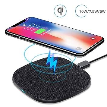 10 W Cargador Inalámbrico Rápido, AGPTEK Qi Wireless Charger 10W/7.5W/5W para iPhone 8/X/XS/XR/11/11Pro, Galaxy S10/S10+/S10E/S9/S9+/S9+/S8, Huawei 20 ...