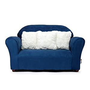 Keet Plush Childrens Sofa with Accent Pillows, Navy