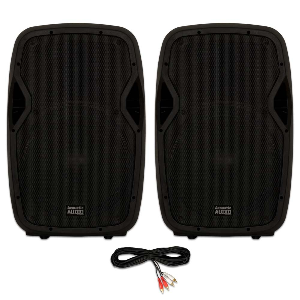 Acoustic Audio AA15BT Powered 2000 Watts 15'' Bluetooth Speaker Pair 2 Way USB MP3 Players