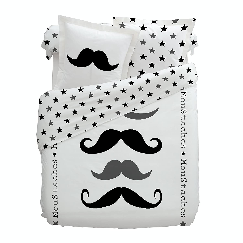 linge de lit moustache Cotonflor   Parure Figaro Housse de couette 140x200 + 1 taie 63x63  linge de lit moustache