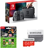 Nintendo Switch Joy-Con (L) / (R) グレー+ニンテンドープリペイドカード4000円 (Minecraft) +Samsung microSDXCカード 64GB EVO Plus Class10 UHS-I U3対応