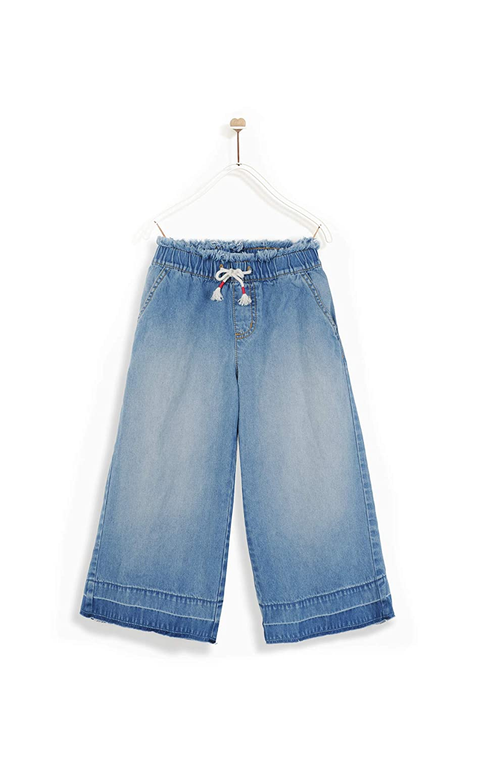 M.D.K Girls Denim Culottes Cropped Length Drawstring Loose Fit Wide Leg Jeans
