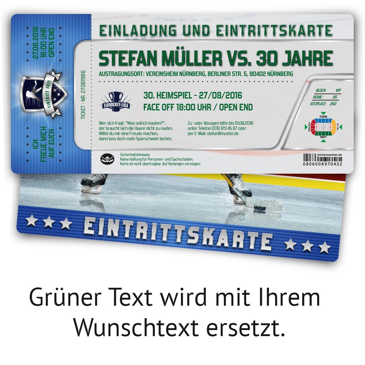 Einladungen (50 Stück) zum Geburtstag als Eishockey Eintrittskarten ...