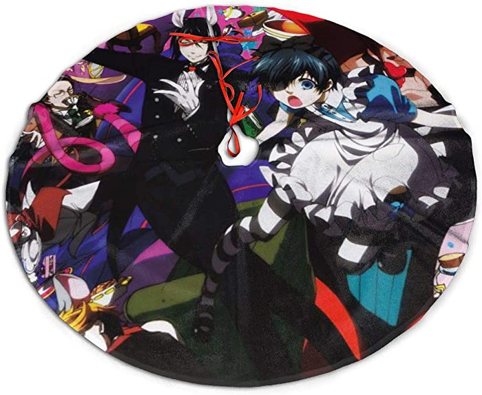 GDSSBD Anime Black Butler Christmas Tree Skirt - Halloween Christmas Tree Decorations Large Thick Luxury Tree Mat Decor Skirt, Holiday Party Supplies Decorations Xmas Ornaments 30