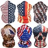 American Flag Face Masks Motorcycle Headwear Sports Bandana Headbands - Multifunctional,Seamless,Tublar,Thin,6PCS