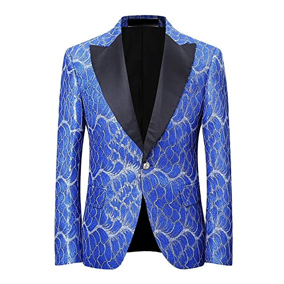 c29d1dfd YOUTHUP Men's Dinner Jacket Brilliant Design Luxury Floral Blazer Tuxedo  Tux Wedding Stage Club Party Coat