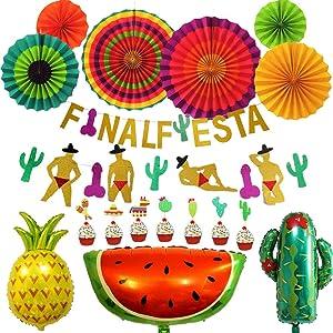 Final Fiesta Banner Mexican Fiesta Theme Party Decorations Bachelorette Party Decor Supplies Tropical Party, Luau Party, Hawaiian Theme Party