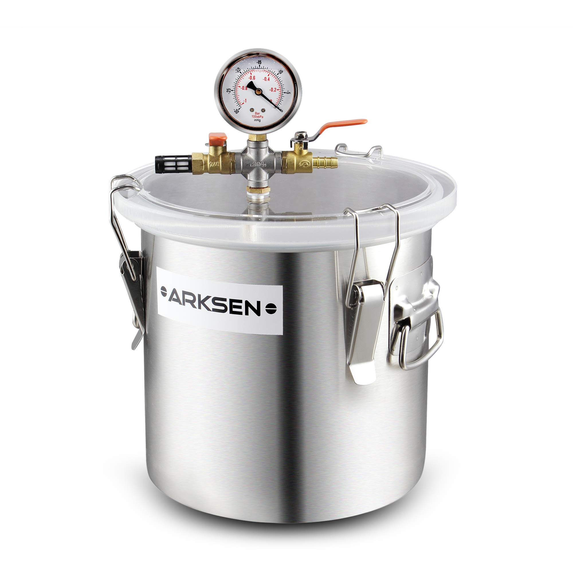 Arksen 3 Gallon Vacuum Chamber Stainless Steel Degassing Urethanes Silicone Resin Epoxies Lid Kit w/ 50 Micron Air Filter by ARKSEN