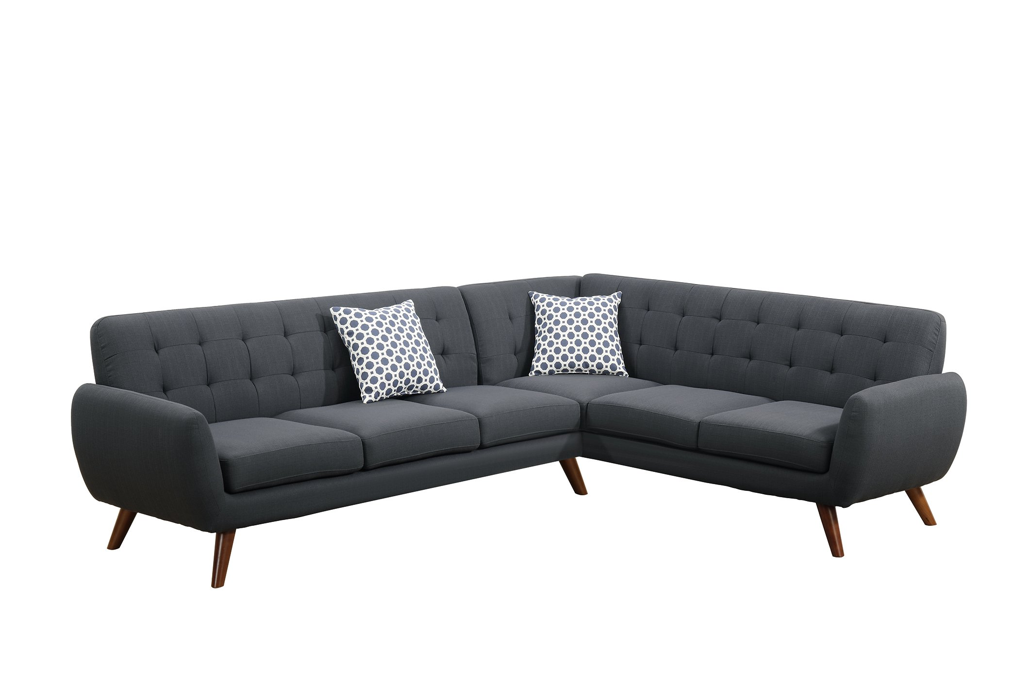 Poundex Bobkona Galiana Linen-Like Polyfabric SECTIONAL in Ash Black by Poundex