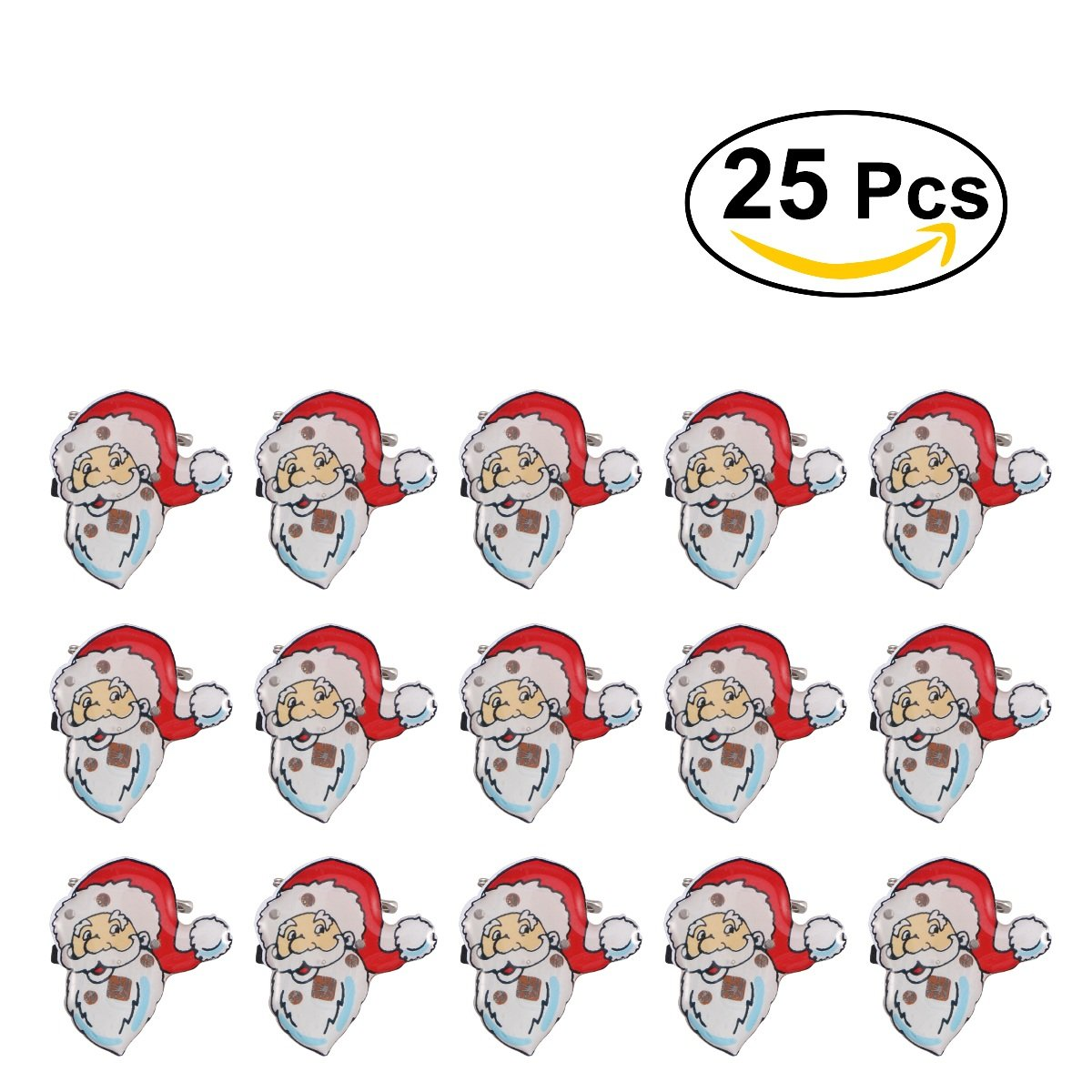 Broches de Noël OULII Père Noël lumineux cadeaux de enfants accessoire pour les fêtes 25pcs