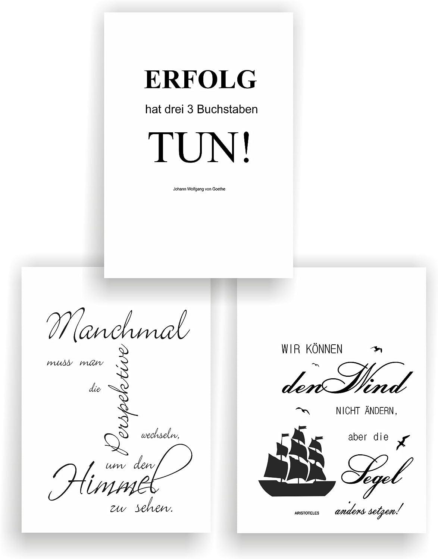 Greenluup 3er Set Poster Spruch A4 Sprüche Wandbild P5 Zitate Sprüche Schwarz Weiß Goethe Arbeit Büro Erfolg Motivation