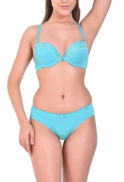 303b6ab25 Angels Aura Women s T-Back Push Up Front Open Bra and Bikini Set -Turquoise