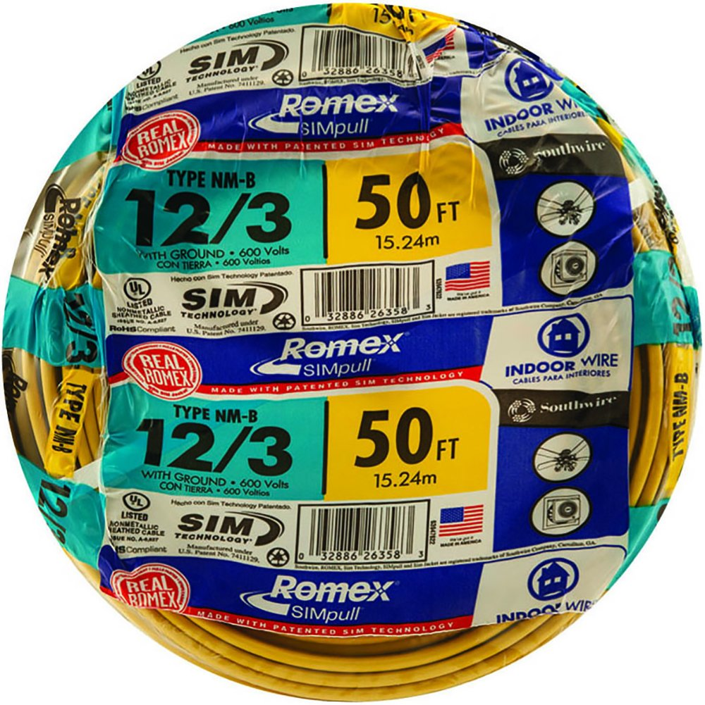 Southwire 63947622 50 12 3 With Ground Romex Brand Simpull Electrical Cable Copper Wire Gauge 2 Residential Indoor Electrial Type Nm B Yellow Wires