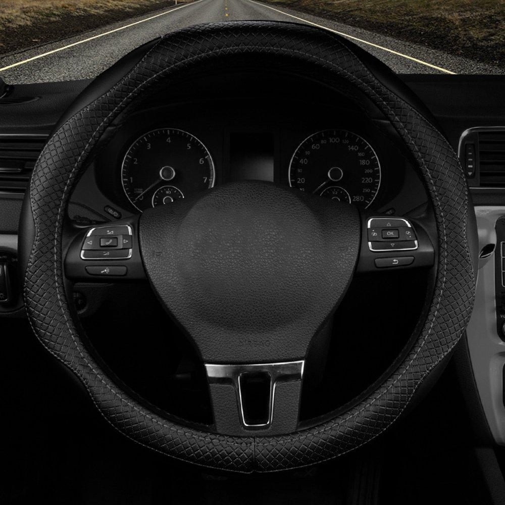Han Sui Song Volante para Coche, de piel auté ntica, 38 cm, para Pulsar NV200 EVALIA, Juke nuevo X-Trail e-nv200 Evalia nuevo Duster Sandero Lodgy Logan Dokker 38cm Negro de piel auténtica 38cm para Pulsar NV200EVALIA