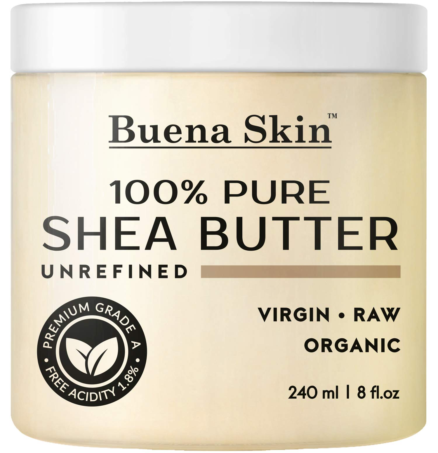 Buena Skin Pure Shea Butter - Raw African Organic Grade A Ivory Unrefined, Cold-Pressed - Great to Use Alone or DIY Body Butters, Lotions, Soaps, Eczema & Stretch Mark Products, from Ghana 8 oz by Buena Skin