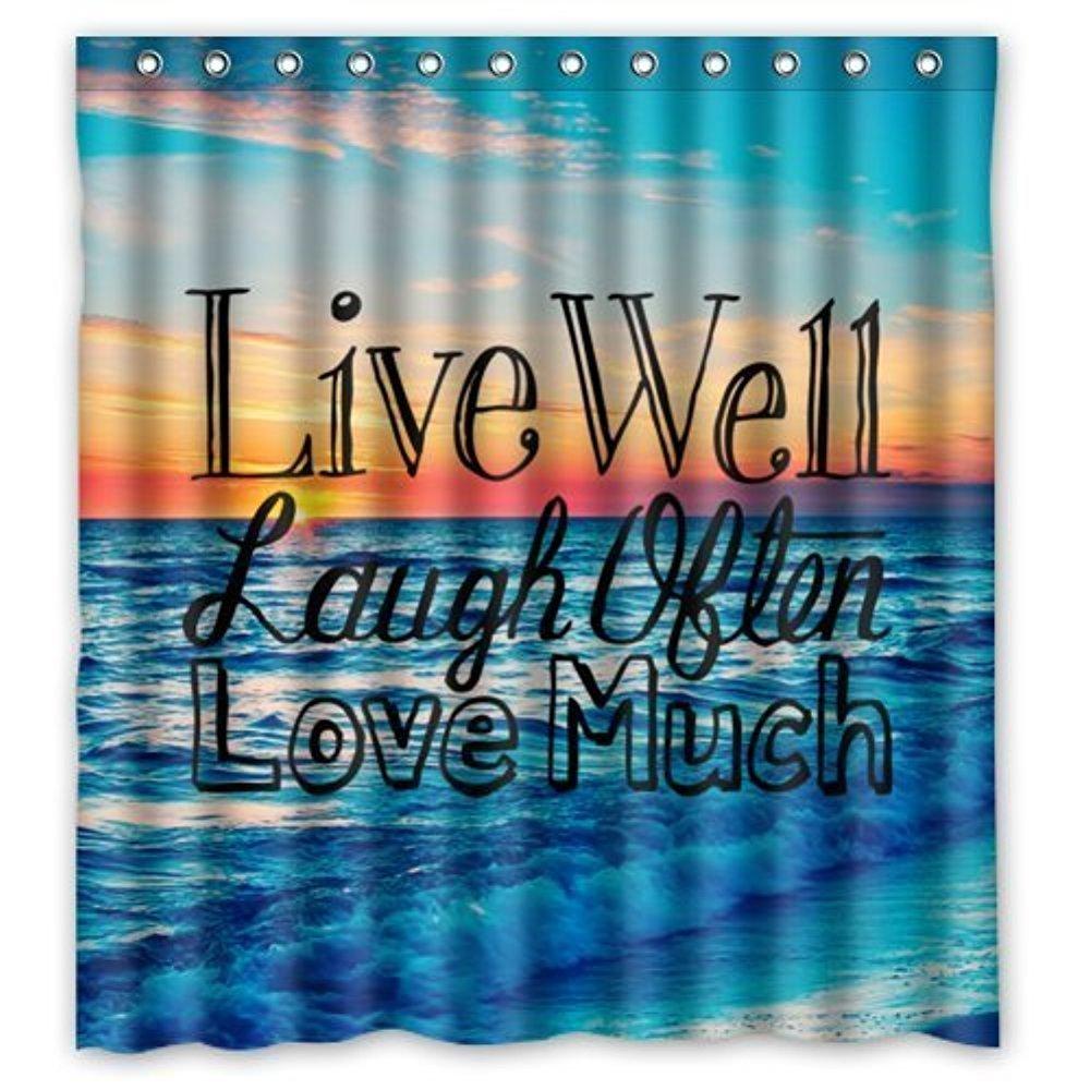 Custom Sunset Sea Ocean Beach With Live Laugh Love Quotes Bathing Waterproof Fabric Bathroom Shower Curtain