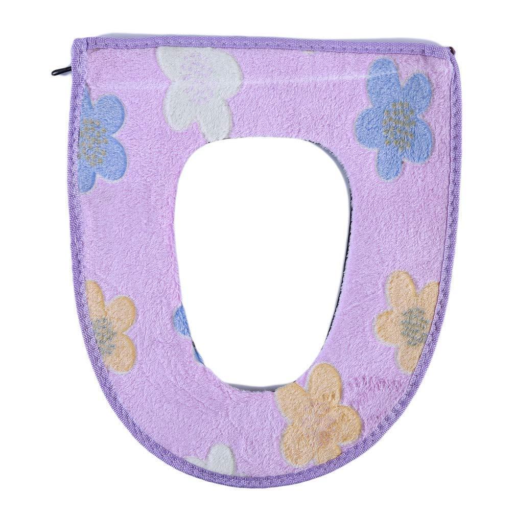Yevison Premium Quality Toilet Seat Cover Flower Pattern Soft Warm Toilet Cushion Zipper Toilet Mat Decoration Accessories For Home Bathroom,Purple flower