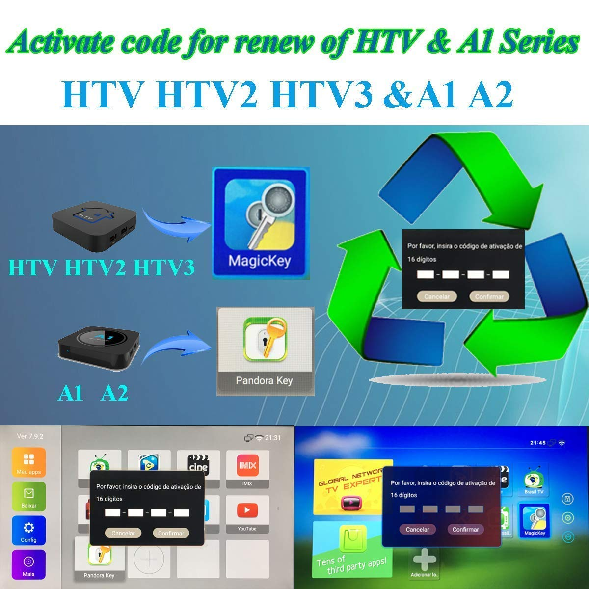 TV Box Brazil Code, Brazil TV Box Renew Code, A2 Renew Code,Brazil TV Box Renew Code, Activation Code for A1/A2/ HTV/IPTV 5/6,Subscription 16-Digit Renew Code,One Yea with Extra 1 Month subscrip by IPTV Brazil