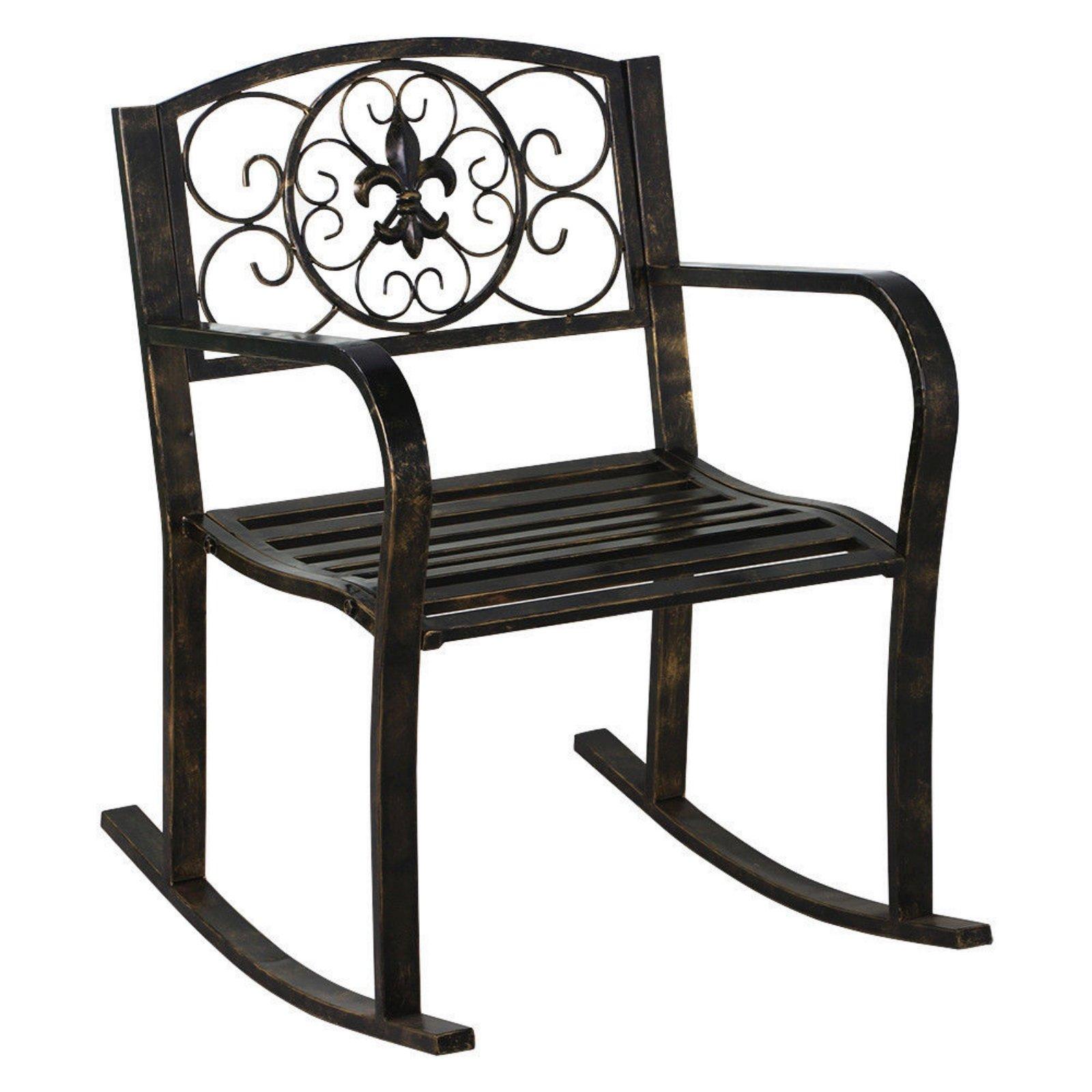 Outdoor Patio Metal Rocking Chair Porch Garden Seat Deck Backyard Glider Rocker New #224 by koonlertshop