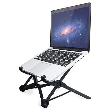 Soporte para portátil plegable, ajustable al nivel de los ojos, ergonómico, ligero, compacto, ajuste universal para PC, MacBook, negro: Amazon.es: Oficina y ...
