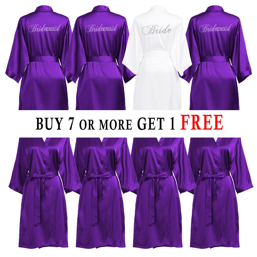 PROGULOVER Set Of Bridesmaid Robes Buy 7 Get 1 Free Rhinestone With Crystals Bridesmaid Gift Personalized Bridesmaid Satin Bride Robes Shower