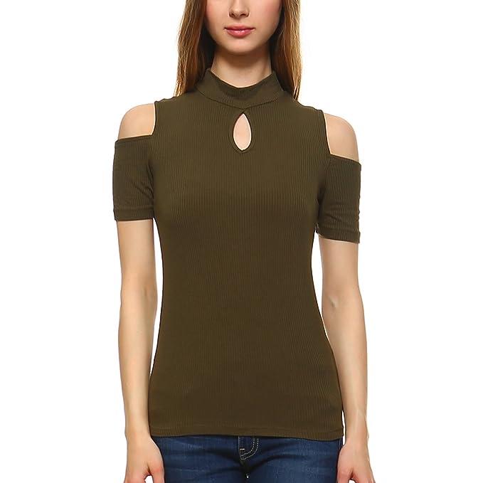 0658c49e4c75e Fashionazzle Women s Open Cutout Cold Shoulder Short Sleeve Blouse Top  (Medium