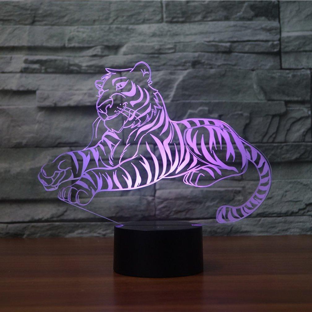 Amazon.com: 3d Tiger luz de noche 7 Cambio de color LED de ...