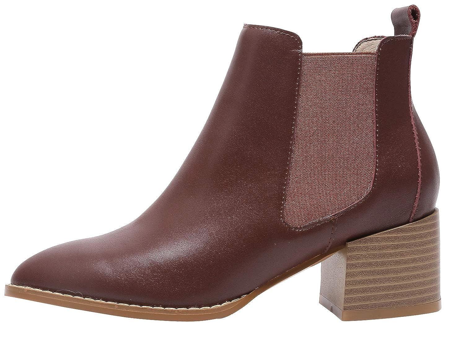 SimpleC Mujeres Chelsea Boots Casual Cremallera Punta Cuadrada, Botines de Tobillo con 5.5cm de Altura del talón: Amazon.es: Zapatos y complementos
