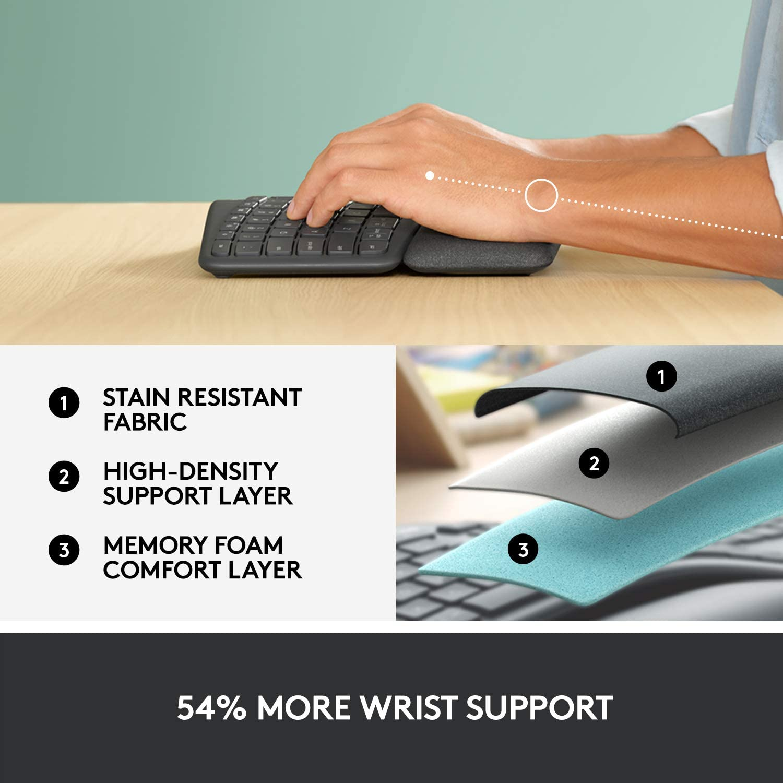 Logitech Ergo K860 Wireless Ergonomic Keyboard with Wrist Rest and MX Vertical Wireless Mouse
