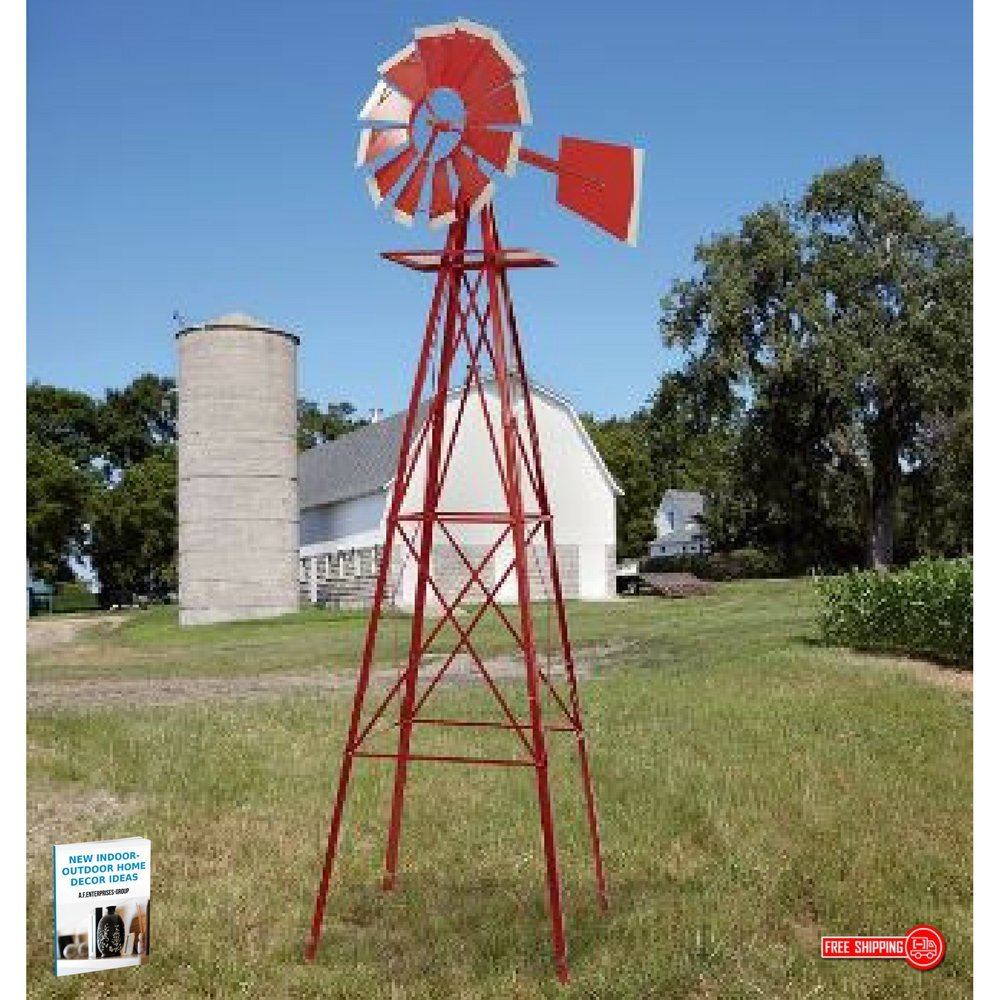Ornamental Windmill For Every Garden Shows Where The Wind Blows Under Silent Spinning Operation, Red & White, 8ft Tall, 22In Wheel & eBook Home Decor by afDesign