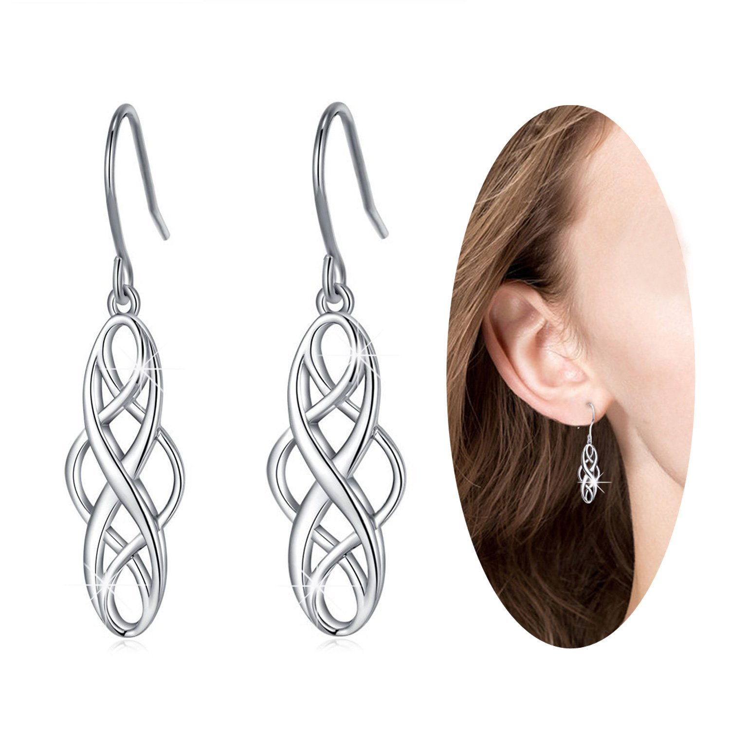 Celtic Knot Infinity love long Fishhook Hook Drop Dangle Earrings,Good Luck Ear Hook Sterling Silver Earrings,Elegant Gorgeous lovely,Very Comfortable to Wear,Received Many Compliment, for Women Girls
