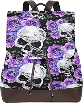 Leather Mexican Skulls With Floral Backpack Daypack Bag Women